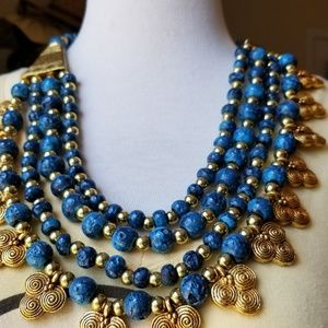 Blue and Gold Beaded Necklace w/ Goldtone Clasp